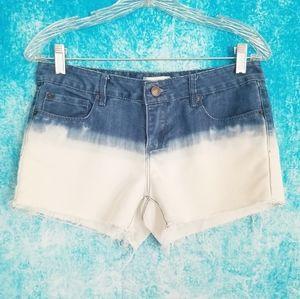 F21 Dip Dye Blue/White Mid Rise Denim Jean Shorts